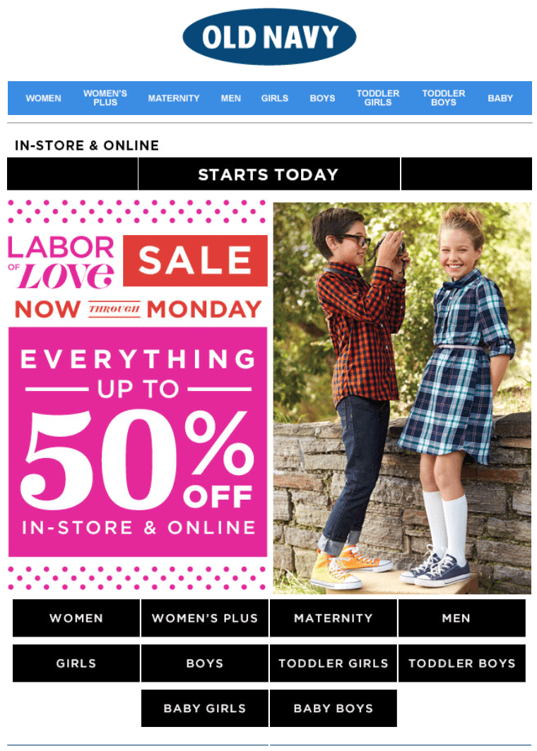 Old Navy's Labor Day Sale 2017