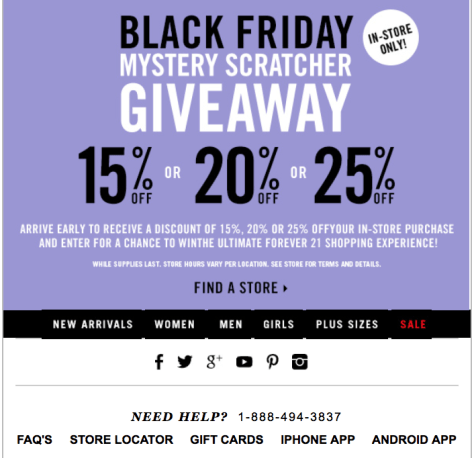 Forever 21 coupons black friday 2018