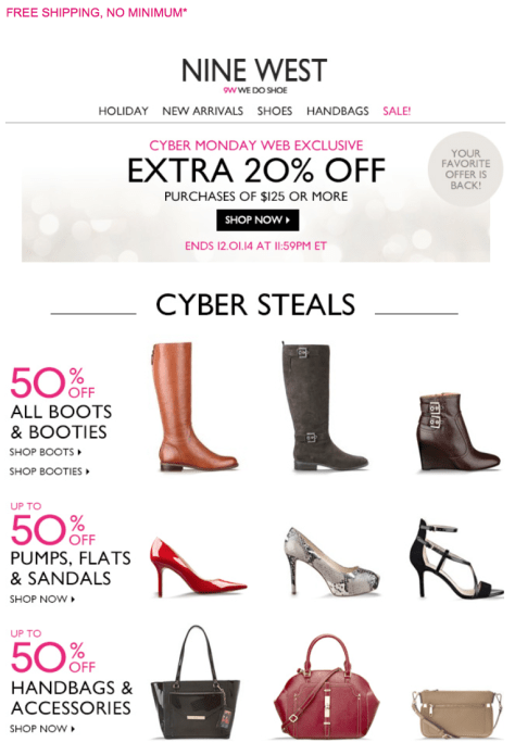 Nine West Cyber Monday Ad - Page 1