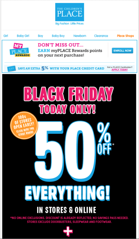 The Childrens Place Black Friday Ad - Page 1