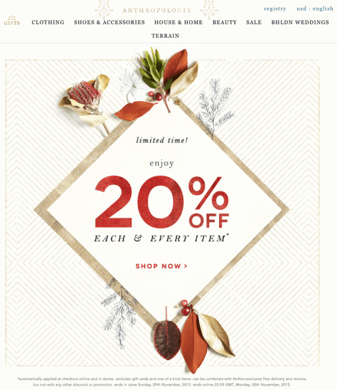 Anthropologie Black Friday 2015 Flyer - Page 1