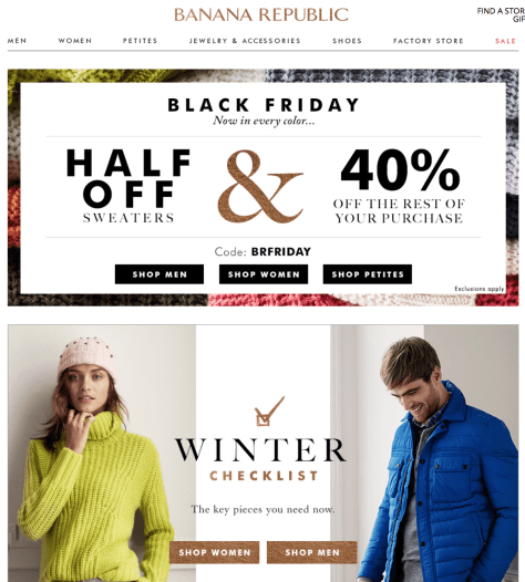 Banana Republic Black Friday 2015 Ad - Page 1
