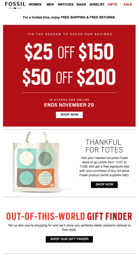 Fossil Black Friday Ad - Page 1