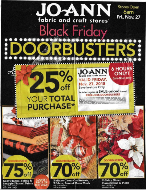 Jo Ann Fabrics Black Friday 2015 Ad - Page 1