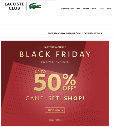 Lacoste Black Friday Ad - Page 1
