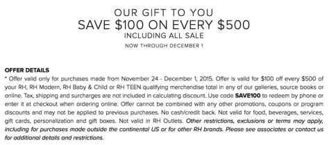 Restoration Hardware Black Friday 2015 Flyer - Page 2