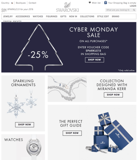 Swarovski Cyber Monday 2015 Ad - Page 1