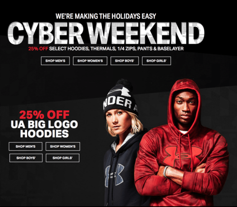 Under Armour Cyber Monday 2015 Ad - Page 1