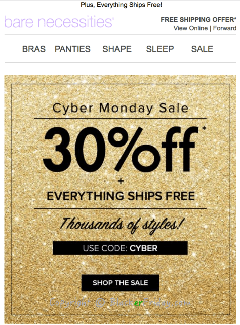 Bare Necessities Cyber Monday Ad Scan - Page 1