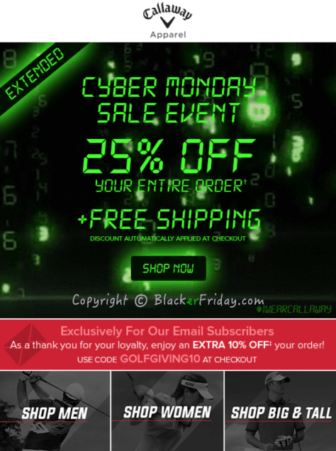 Callaway Cyber Monday Ad Scan - Page 1