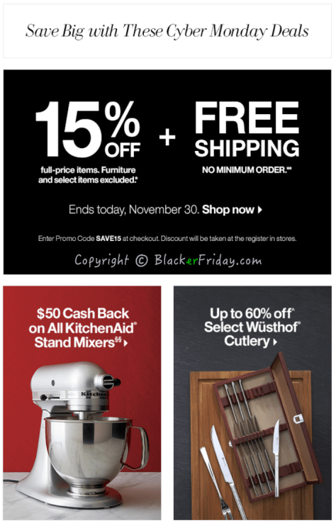 Crate and Barrel Cyber Monday Ad Scan - Page 1
