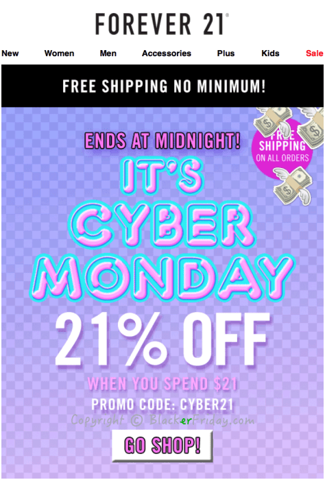 Forever 21 Cyber Monday Ad Scan - Page 1