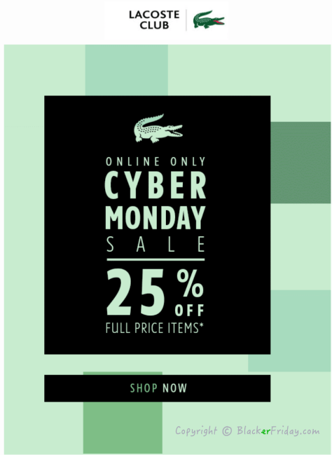 Lacoste Cyber Monday Ad Scan - Page 1