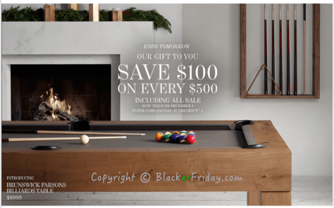 Restoration Hardware Cyber Monday Ad Scan - Page 1