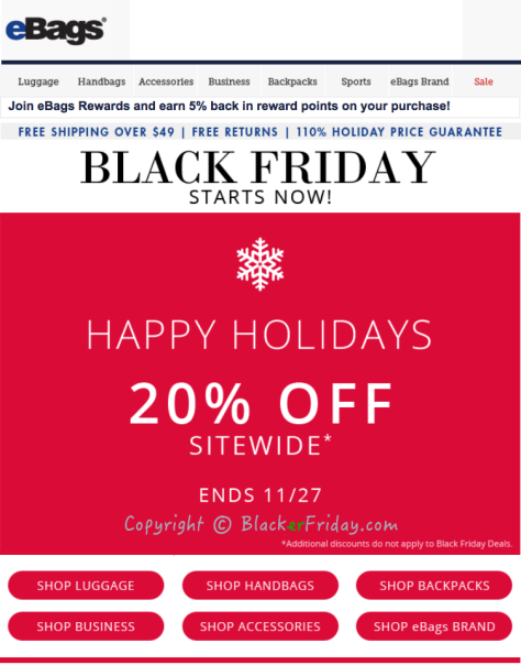 Ebags Black Friday Ad Scan - Page 1