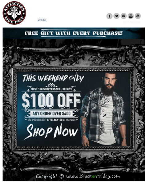 Affliction Black Friday Sale Ad Scan - Page 1