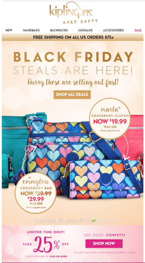 Kipling Black Friday Deals | Up To 70% OFF Off. Get An Extra 50% Off Sale Items - Kipling Coupon For November. Hunt for scorching savings with this Kipling Free Shipping Promo Code. 10+ Kipling coupons and discounts for September Codes is guaranteed to work online.