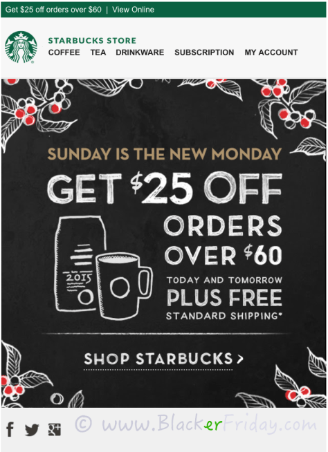 Starbucks Cyber Monday Sale Ad Scan - Page 1