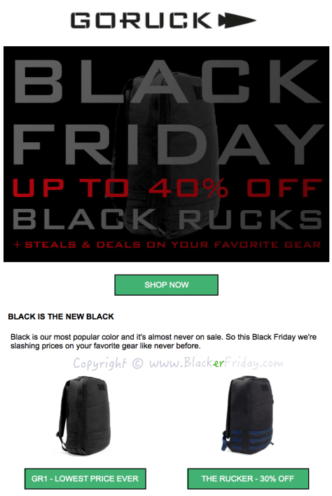 GoRuck Black Friday Sale Ad Flyer - Page 1