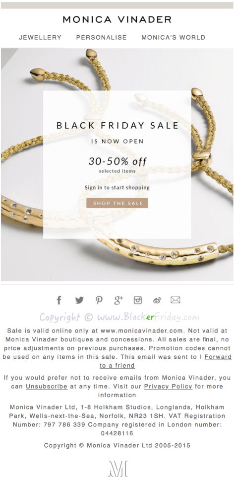 Monica Vinader Black Friday Sale Ad Flyer - Page 1