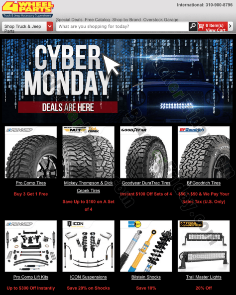 4 Wheel Parts Cyber Monday 2019 Sale Blackerfriday Com