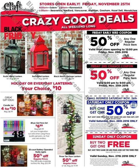 Craft Warehouse Black Friday 2019 Ad, Sale & Deals