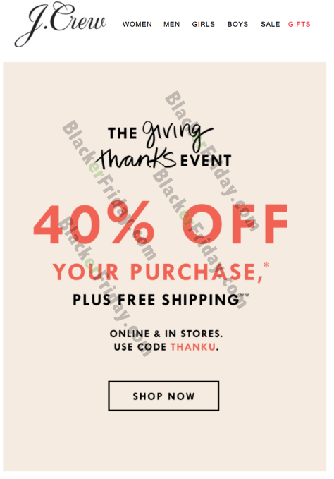 eeb7da90fa93a Sale runs from now through through 11:59pm on Sunday, November 26, 2017.  Not valid in J.Crew Factory or J.Crew Mercantile stores; at  jcrewfactory.com; ...