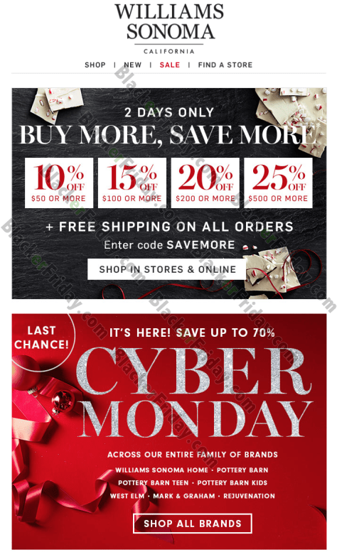 Williams Sonoma Cyber Monday 2020 Sale What To Expect Blacker Friday