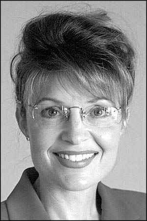 Sarah Palin. A lovely black-and-white portrait. Ahhh. Sweet Sarah.