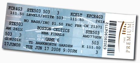 2008 NBA Finals ticket stub
