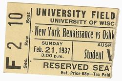 1937 Rens vs. Oshkosh Game Ticket