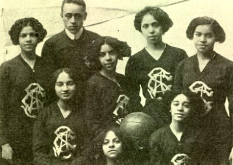 The Spartan Girls of Brooklyn, an early all-black female basketball team, circa 1910.