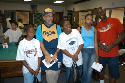 John Isaacs and some friends at the Madison Avenue Boys and Girls Club in the Bronx, August 2003