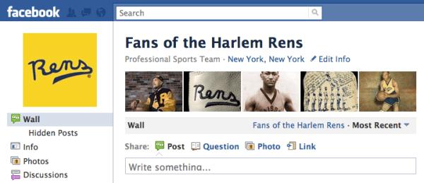 Screenshot of Fans of Harlem Rens page on Facebook