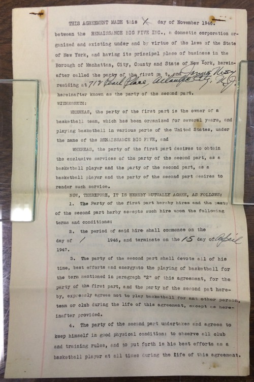 New York Rens professional basketball contract with Jim Usry, 1946