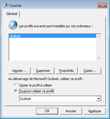 Fenêtre de choix de profil Outlook du panneau de configuration Courier.