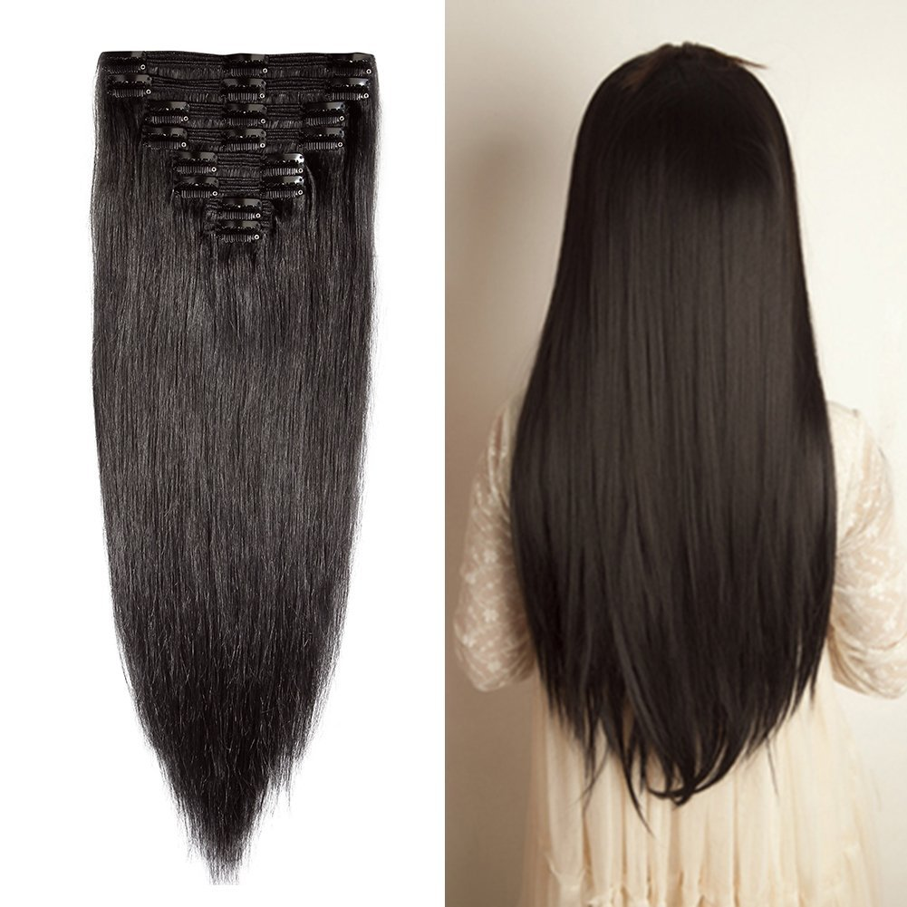 Double Weft 100 Remy Human Hair Clip In Extensions 10