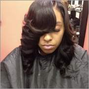 cute sew ins with bangs - black