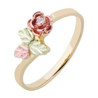 Landstroms Ladies Black Hills Gold Rose Ring with Diamond