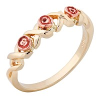 Landstroms Ladies Black Hills Gold Rose Ring with Leaves