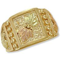 Landstroms Mens Black Hills Gold Ring with BHG Leaves