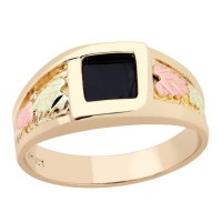 Landstroms Mens Black Hills Gold Onyx Ring with Leaves - 02740