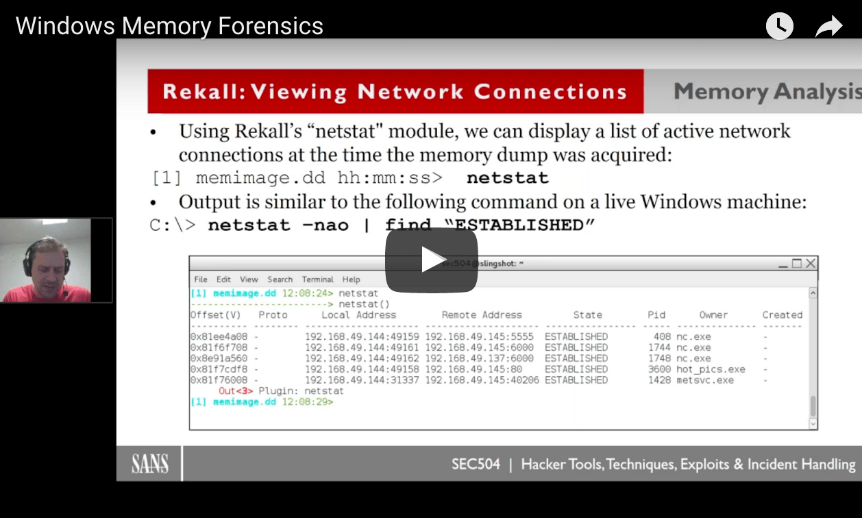 WEBCAST: Windows Memory Forensics