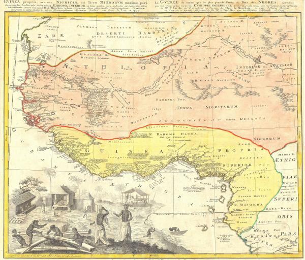 1743 Homann Heirs Map of Judah In West Africa