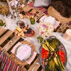 Pallet Wood Chair Folding Portable Bohemian Dinner Party Inspiration | Black Iris Floral Events