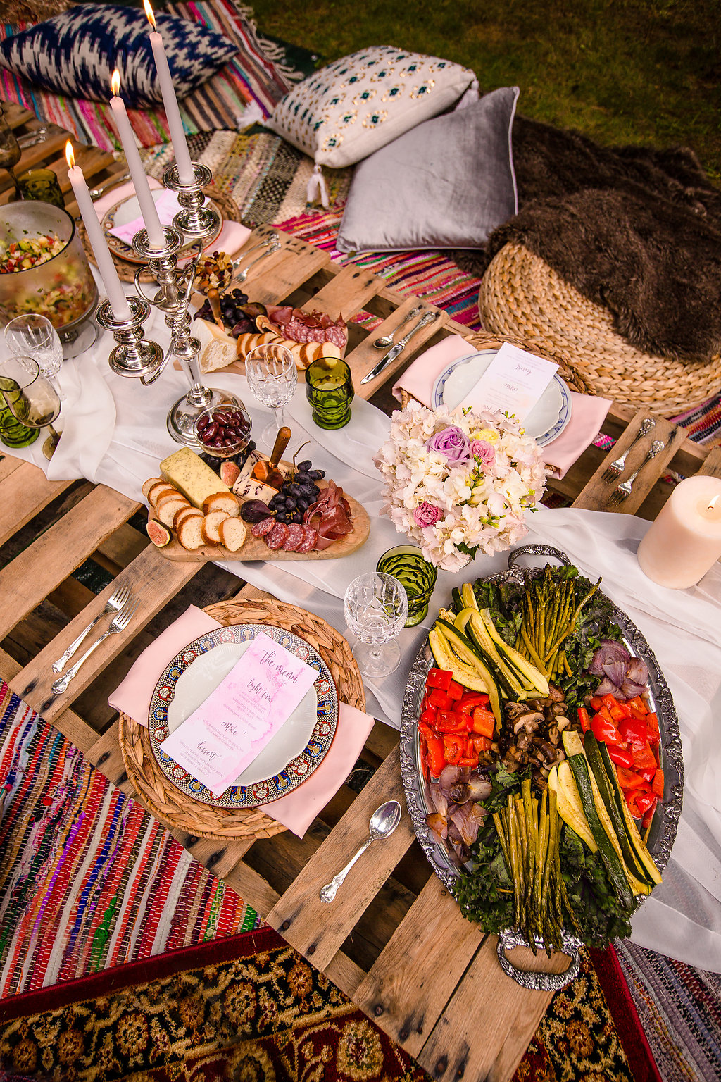 peacock hanging chair game bohemian dinner party inspiration | black iris floral events