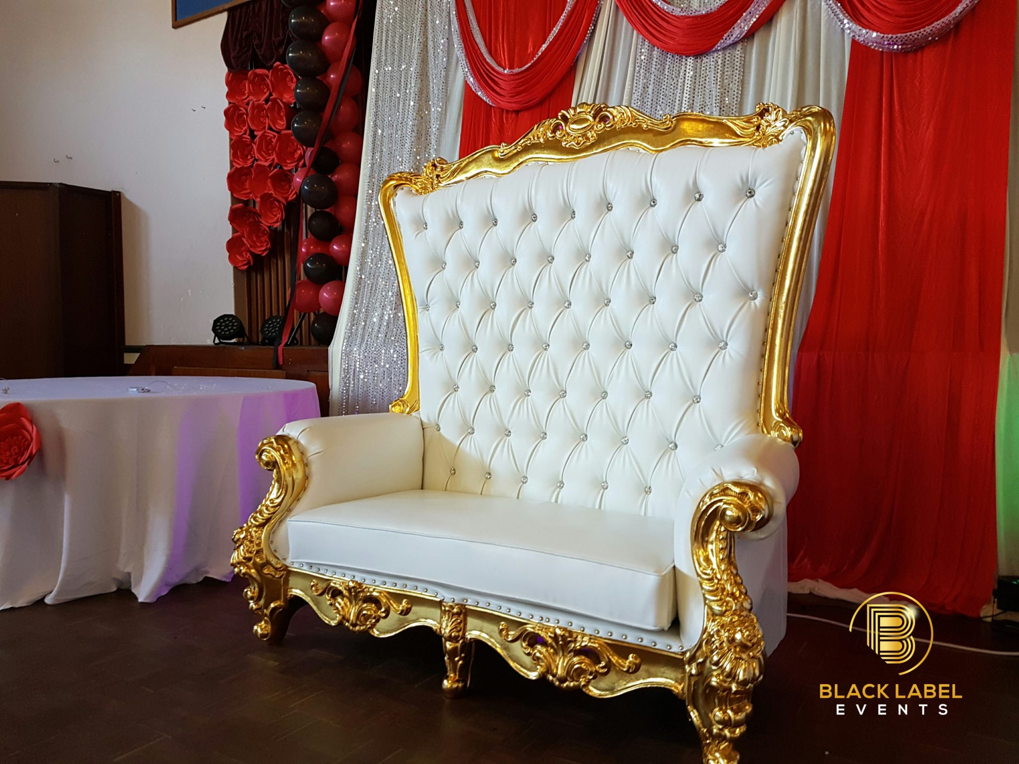 black throne chair double high label