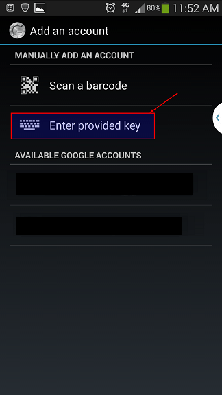 10 - Select Enter provided key on SMARTPhone to use Google Authenticator - blackMORE Ops