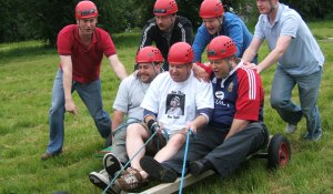 corporate team building land carting