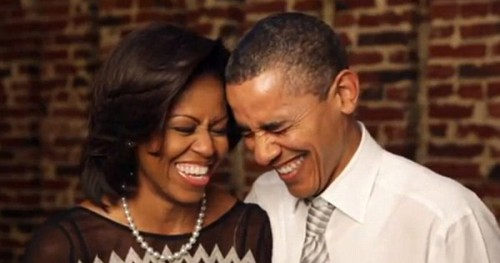 President Obama and First Lady Michelle Laughing